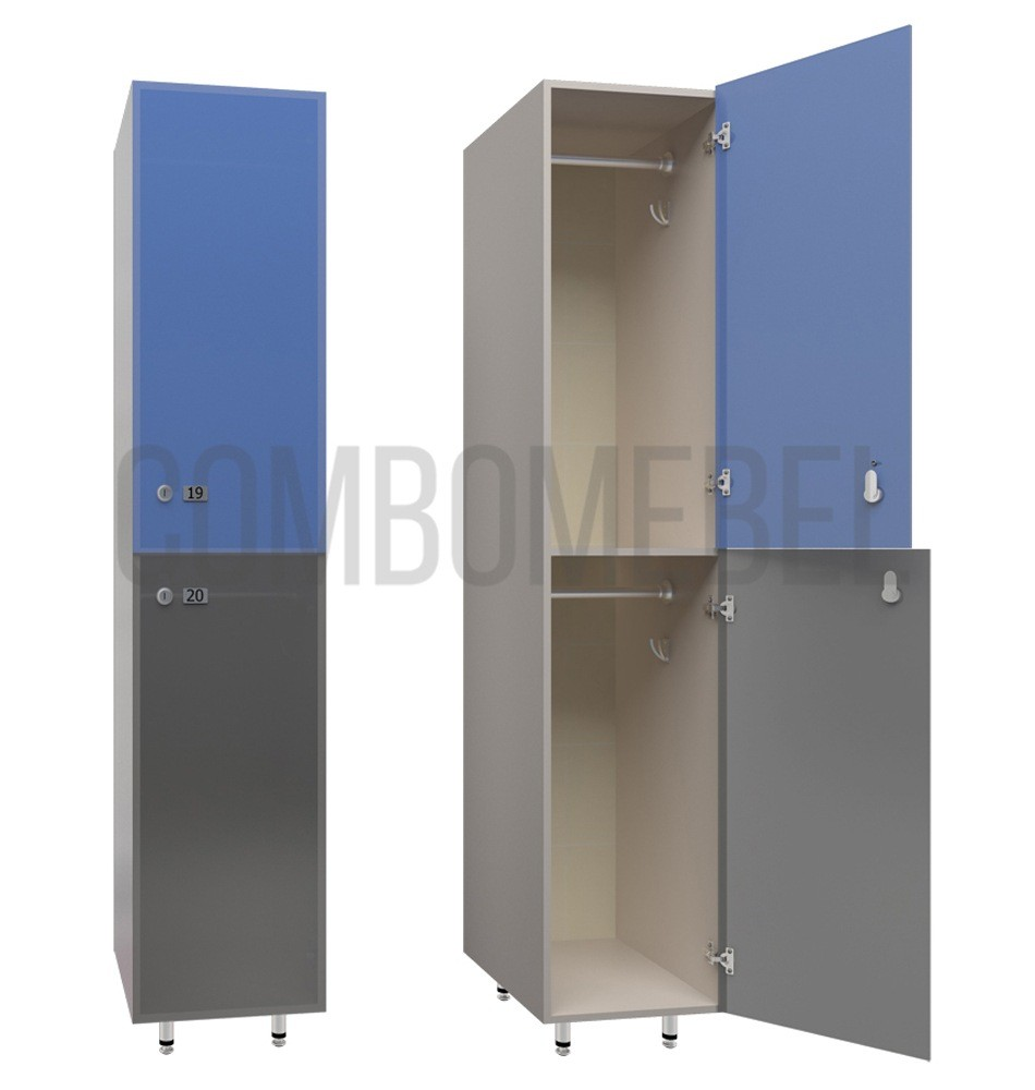 Двухсекционные шкафчики для фитнес клуба серии Дабл
