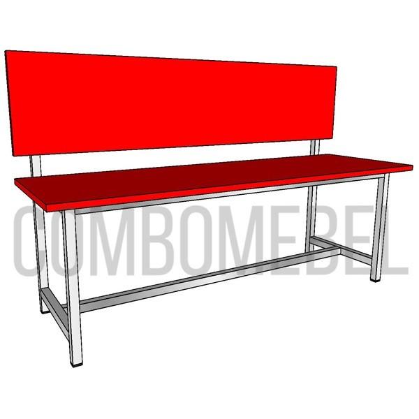 скамейка из металлокаркаса с порошковой покраской и сиденьем и спинкой из ЛДСП