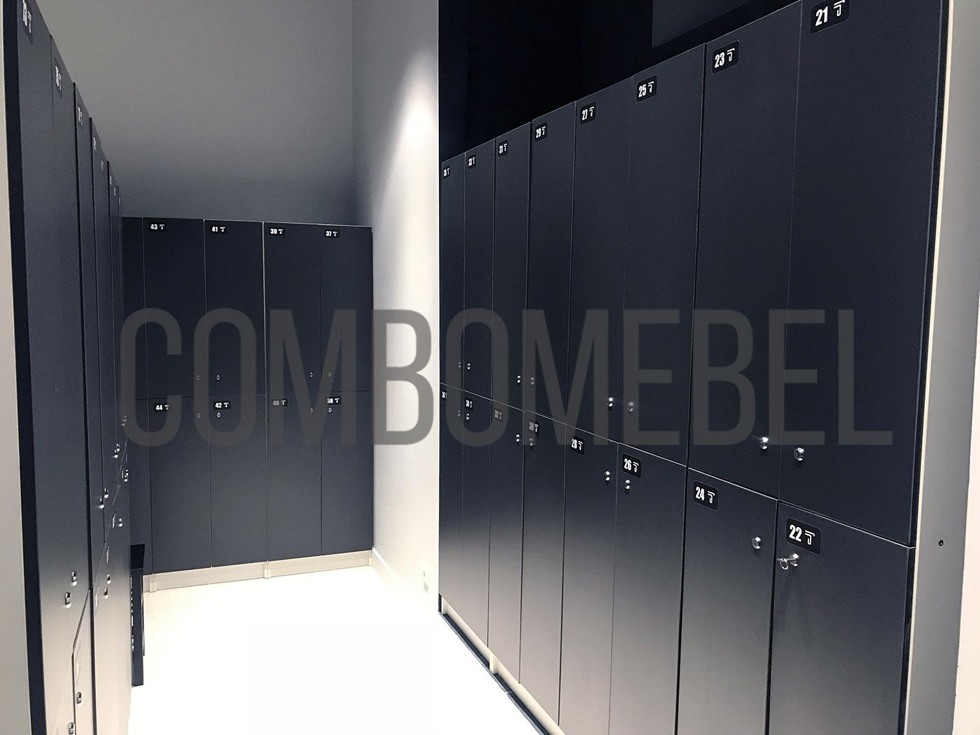 типовые двухсекционные шкафы для раздевалки студии растяжки в Москве