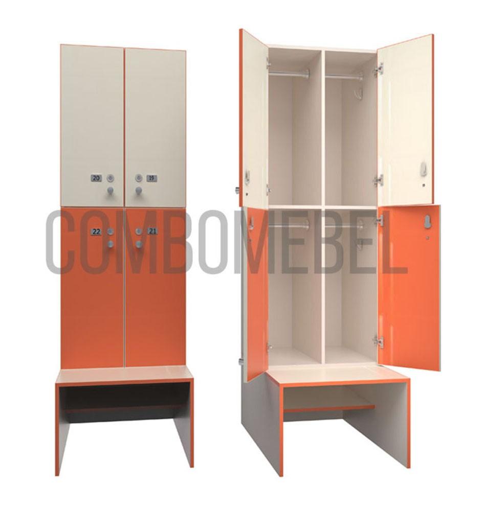 Шкафчики для фитнес клуба серии Квартет-С по индивидуальному проекту
