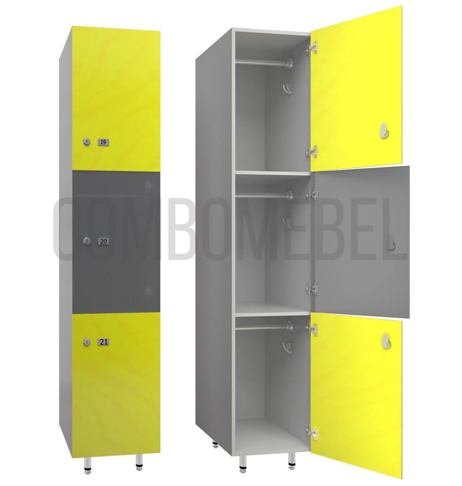 Трехсекционные шкафчики для фитнес клуба серии Трио