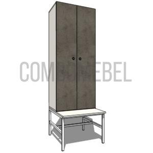 Шкаф для раздевалки на металлокаркасе Дуэт МК2 эконом