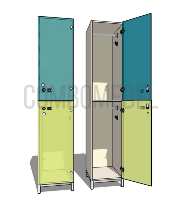 Шкаф для раздевалки двухсекционный Дабл МК-люкс