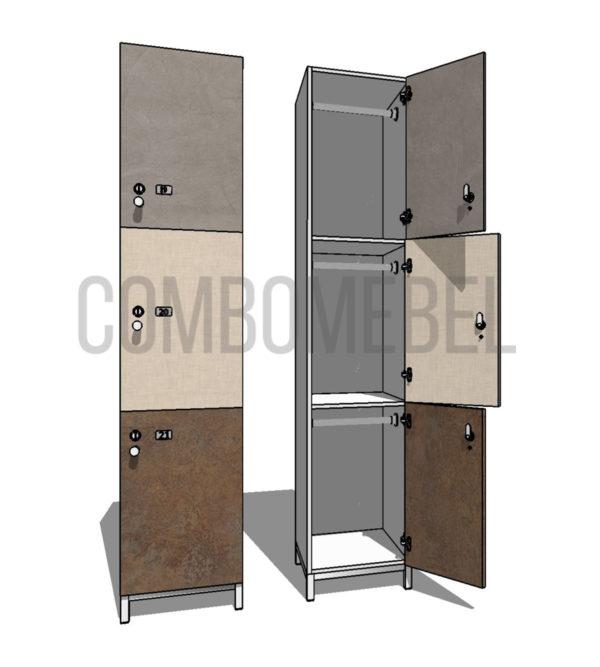 Шкаф для раздевалки трехсекционный Трио МК-эконом