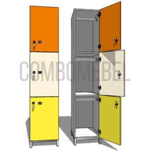 Шкаф для раздевалки трехсекционный Трио МК-медиум