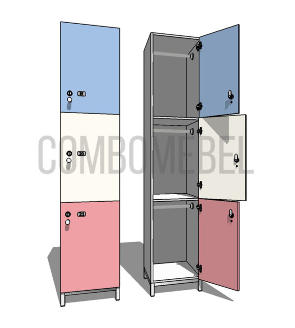 Шкаф для раздевалки трехсекционный Трио МК-премиум