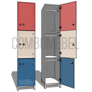 Шкаф для раздевалки трехсекционный Трио МК-люкс