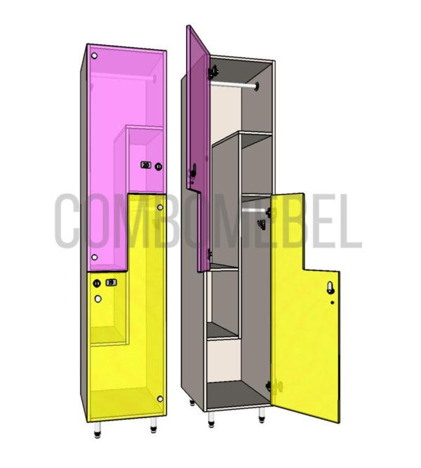 Шкаф для раздевалки F-образный люкс