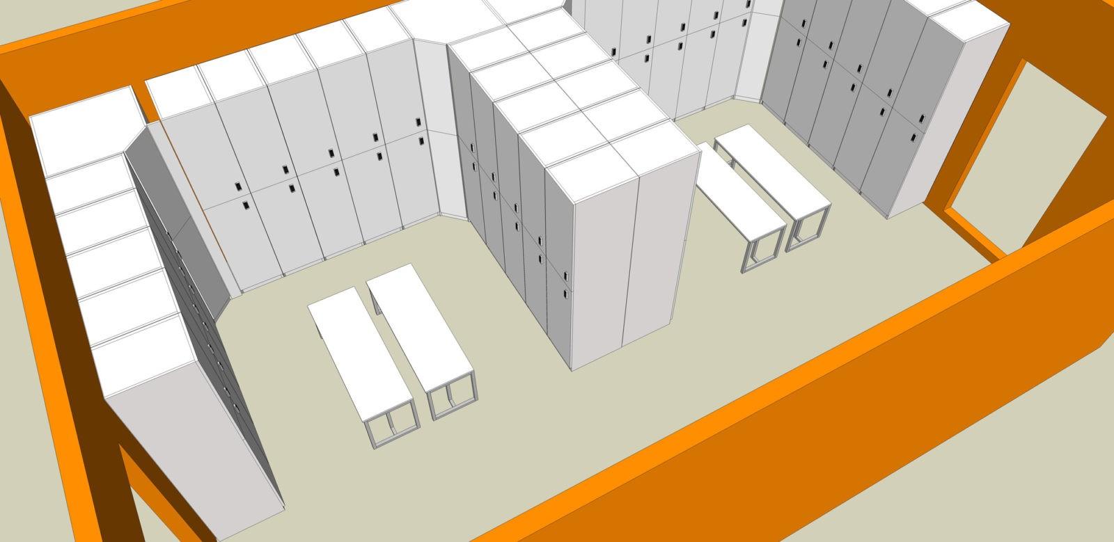 Проект на шкафчики для фитнес клуба, производство в Москве, гарантия лучшей цены в ComboMebel