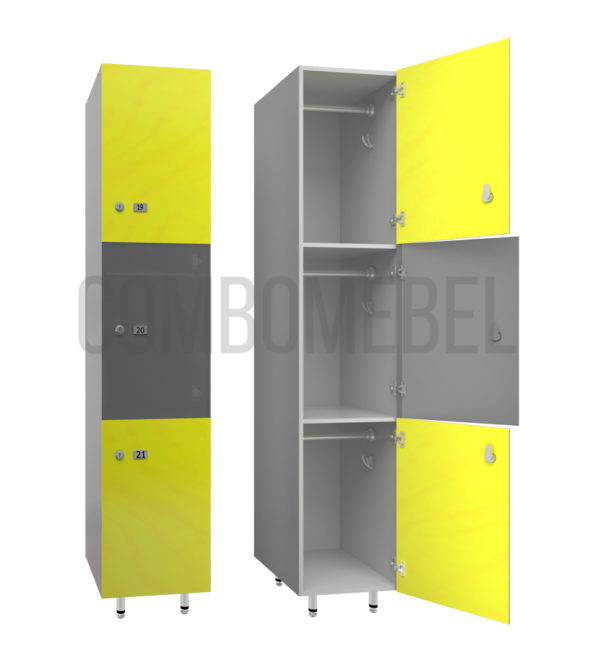 Шкаф для раздевалки трехсекционный Трио-люкс