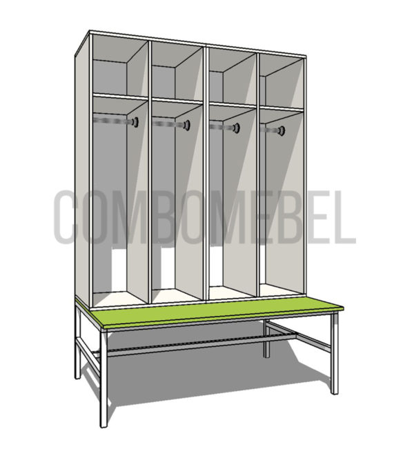 Шкаф для раздевалки на металлокаркасе Дуэт МК4 эконом