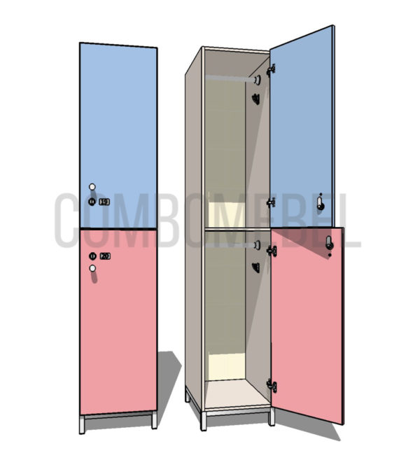 Шкаф для раздевалки двухсекционный Дабл МК-эконом