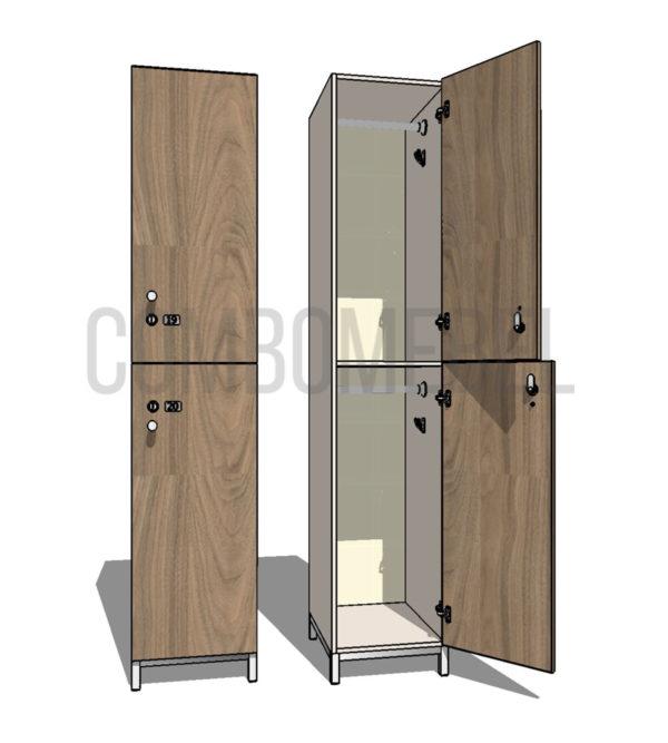 Шкаф для раздевалки двухсекционный Дабл МК-медиум