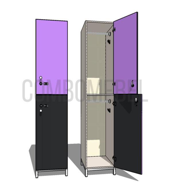 Шкаф для раздевалки двухсекционный Дабл МК-премиум
