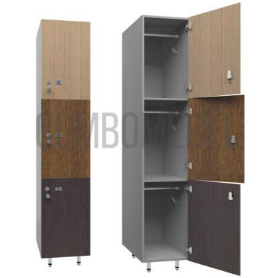 Шкаф для раздевалки трехсекционный Трио-медиум